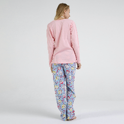 Pijama algodón estampado camisa color blanca y pantalón rosa, Flor Design Rosa, vista posterior