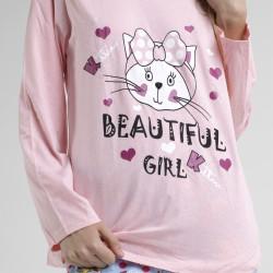 Pijama algodón estampado camisa color blanca y pantalón rosa, Flor Design Rosa, detalle del dibujo