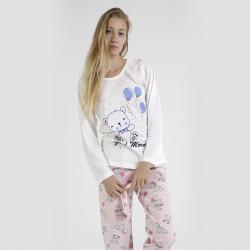 Pijama algodón estampado camisa color blanca y pantalón rosa, Good Morning Pink