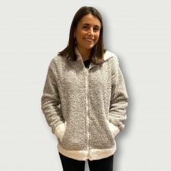 Bata coralina invierno mujer barata color gris con capucha