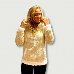 Bata coralina invierno mujer barata color beig con capucha