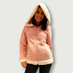 Bata coralina invierno mujer barata color salmón con capucha