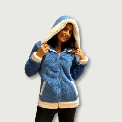 Bata coralina invierno mujer barata color azul índigo con capucha