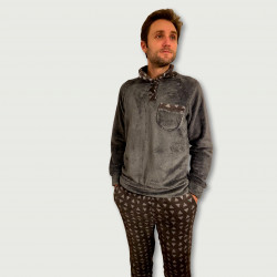 Pijama coralina invierno hombre barato color negro