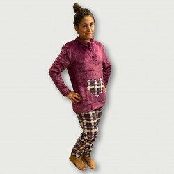 Pijama coralina invierno mujer barato color lila