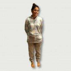 Pijama coralina invierno mujer barato color crema