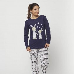 Pijama barato mujer primavera estampado algodón 100% Mod. ATARDECER