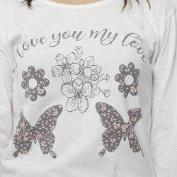 Pijama barato mujer primavera estampado algodón 100% Mod. MARIPOSAS, detalle dibujo
