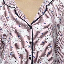 Pijama chaqueta de algodón 100%, Modelo ROMA, detalle los botones