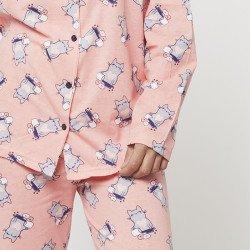 Pijama chaqueta de algodón 100%, Modelo TREVISO detalle de mangas