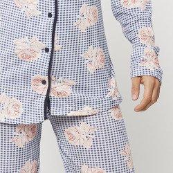 Pijama chaqueta de algodón 100%, Modelo TRIESTE, detalle mangas