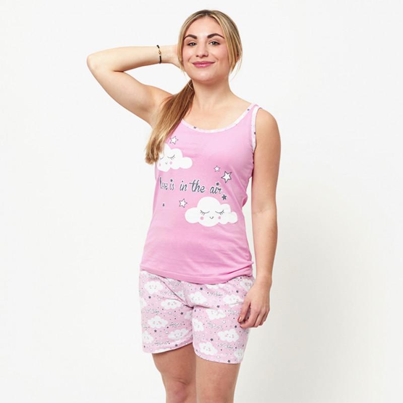 Pijama de verano para mujer con camiseta de tirantes y pantalones cortos de algodón 100%, modelo Main