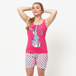 Pijama de verano para mujer con camiseta de tirantes y pantalones cortos de algodón 100%, modelo Eider