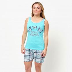 Pijama de verano para mujer con camiseta de tirantes y pantalones cortos de algodón 100%, modelo Lahn