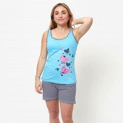Pijama de verano para mujer con camiseta de tirantes y pantalones cortos de algodón 100%, modelo Isar