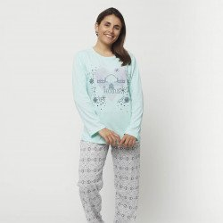 Pijama barato mujer primavera estampado algodón 100% Mod. HOME