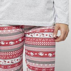 Pijama barato mujer primavera estampado algodón 100% Mod. LOVELY CAT, detalle del pantalon