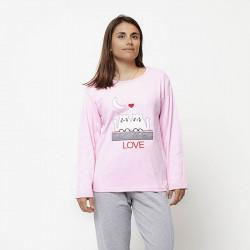 Pijama de mujer de algodón peinado 100% de la mejor calidad, LOVE MOON