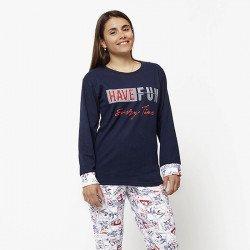 Pijama de mujer de algodón peinado 100% de la mejor calidad, HAVE FUN