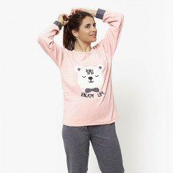 Pijama de mujer de algodón peinado 100% de la mejor calidad, ENJOY LIVE