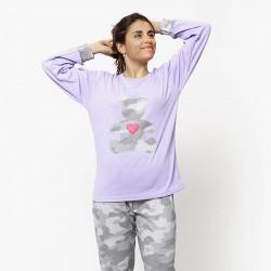 Pijama de mujer de algodón peinado 100% de la mejor calidad, BEAR LILAC