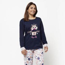 Pijama de mujer de algodón peinado 100% de la mejor calidad, SUN DAY