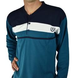 pijama hombre bordado, algodón 100% Modelo gap, detalle del cuello