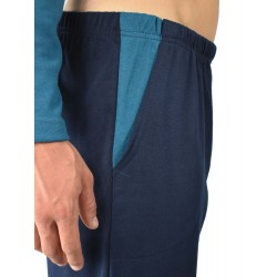 Pijama hombre bordado, algodón 100% Modelo gap, detalle del bolsillo