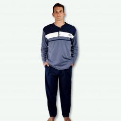 Pijama hombre bordado, algodón 100% Modelo METZ