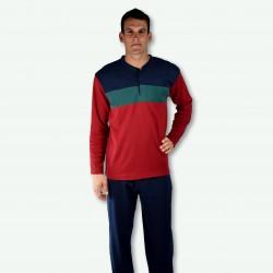 Pijama hombre bordado, algodón 100% Modelo DAX