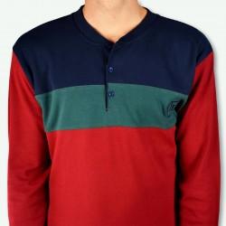 Pijama hombre bordado, algodón 100% Modelo DAX, detalle del cuello