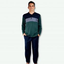 Pijama hombre bordado, algodón 100% Modelo TOURS