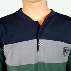 Pijama hombre bordado, algodón 100% Modelo TOURS, detalle del cuello