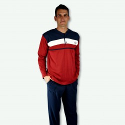 Pijama hombre bordado, algodón 100% Modelo RUAN