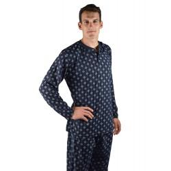Pijama hombre gris claro con fondo dibujo negro, modelo ANETO