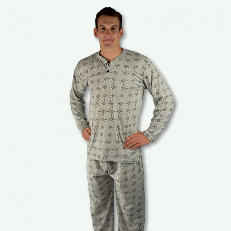 Pijama hombre gris claro con fondo dibujo negro, modelo Kali
