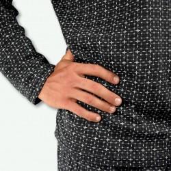 Pijama hombre modelo SAAS color gris oscuro, detalle de la manga