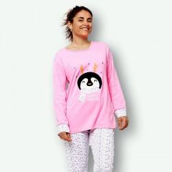 Pijama de mujer de algodón peinado 100% de la mejor calidad, PENGUIN