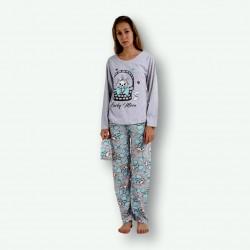 Pijama algodón estampado camisa color gris y pantalón gris turquesa, Lucky Meon, vista posterior