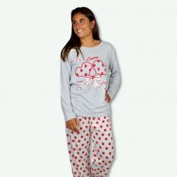 Pijama estampando de mujer otoño invierno, modelo TWO LOVE