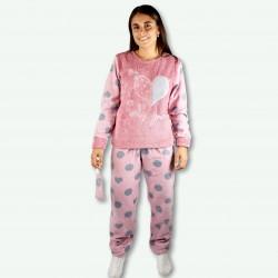 Pijamas mujer invierno, bordado con pantalón y mangas de polar