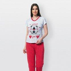Pijama de verano para mujer con camiseta de manga corta y pantalones largos de algodón 100%, modelo Love rojo.