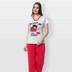 Pijama mujer verano camiseta manga corta y pantalón largo Happy Bear