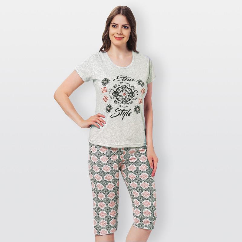 Pijama pirata estampado, manga corta, de algodón 100%