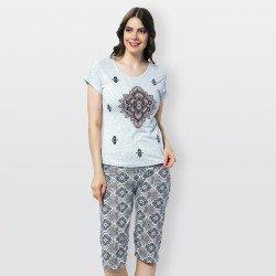 Pijama barato de mujer para verano, manga corta y pantalón pirata Modelo Rodano