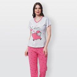 Pijama barato de primavera para mujer, con manga corta pantalón largo 100% algodón modelo Sweet dreams rosa
