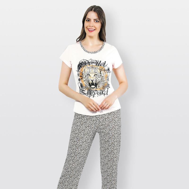 Pijama barato de primavera para mujer, con manga corta pantalón largo 100% algodón modelo Leopard