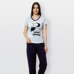 Pijama barato de primavera para mujer, con manga corta pantalón largo 100% algodón modelo Sweet dreams morado