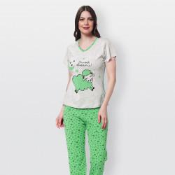 Pijama barato de primavera para mujer, con manga corta pantalón largo 100% algodón modelo Sweet dreams turquesa