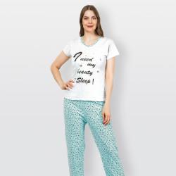 Pijama barato de primavera para mujer, con manga corta pantalón largo 100% algodón modelo Sleep